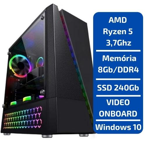 CPU - GAMER AMD RYZEN 5 3.7GHZ /SSD 240GB /MEMÓRIA 8GB /WINDOWS