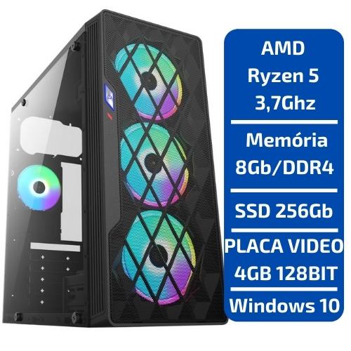 CPU - GAMER AMD RYZEN 5 3.7GHZ /SSD 256GB NVMe /MEM 8GB /PLACA VIDEO 4GB 128BITS RX550