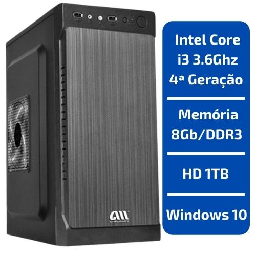 CPU - INTEL CORE I3 3.6GHZ /MEMÓRIA 8GB/DDR3 /HD 1TB /WINDOWS 10