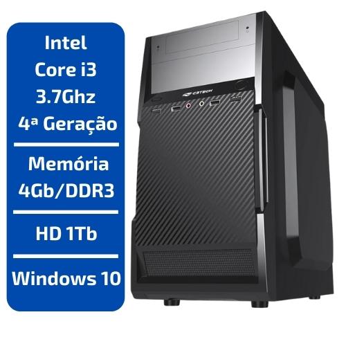 CPU - INTEL CORE I3 3.7GHZ /MEMÓRIA 4GB/DDR3 /HD 1TB /WINDOWS 10