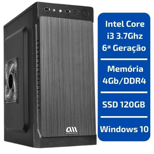 CPU - INTEL CORE I3 3.7GHZ /MEMÓRIA 4GB/DDR4 /SSD 120GB /WINDOWS 10