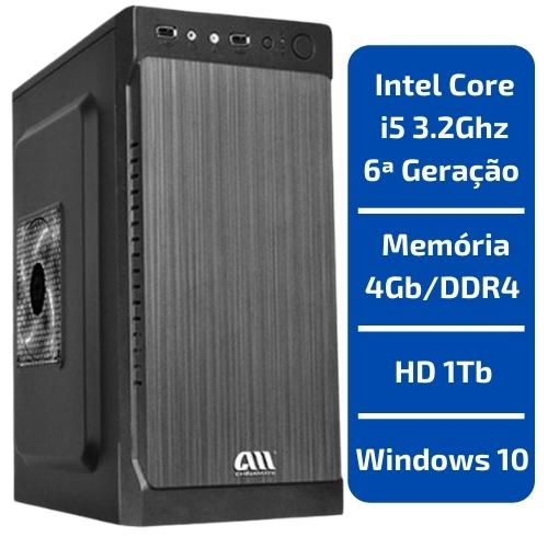 CPU - INTEL CORE I5 3.2GHZ /MEMÓRIA 4GB/DDR4 /HD 1TB /WINDOWS 10