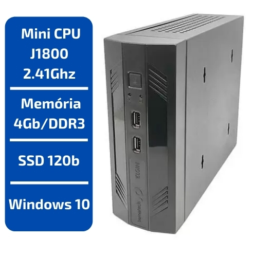 MINI CPU INTEL J1800 2.41GHZ MEMÓRIA 4GB SSD 120GB RC8400N ZION ELGIN WINDOWS 10
