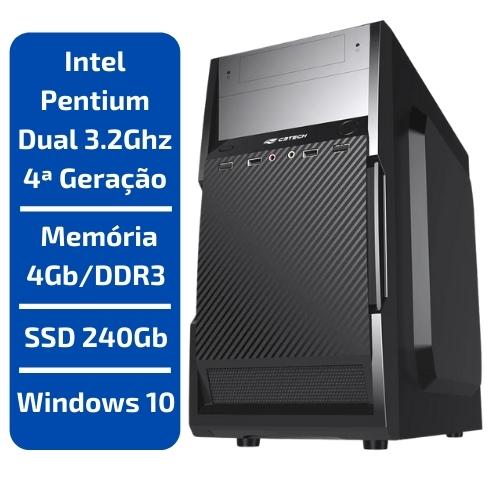 CPU - INTEL PENTIUM DUAL CORE 3.2GHZ /MEMÓRIA 4GB/DDR3 /SSD 240GB /WINDOWS 10