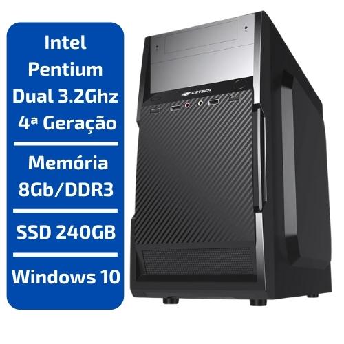CPU - INTEL PENTIUM DUAL CORE 3.2GHZ /MEMÓRIA 8GB/DDR3 /SSD 240GB /WINDOWS 10