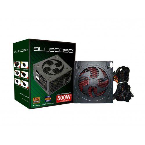 FONTE ATX 500W REAL 24P PFC ATIVO BIVOLT BLUECASE  - Express Informática
