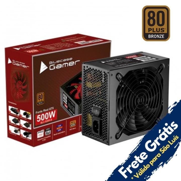 FONTE ATX 500W REAL BIVOLT AUTOMÁTICA C/PFC ATIVO 80 PLUS BLUECASE