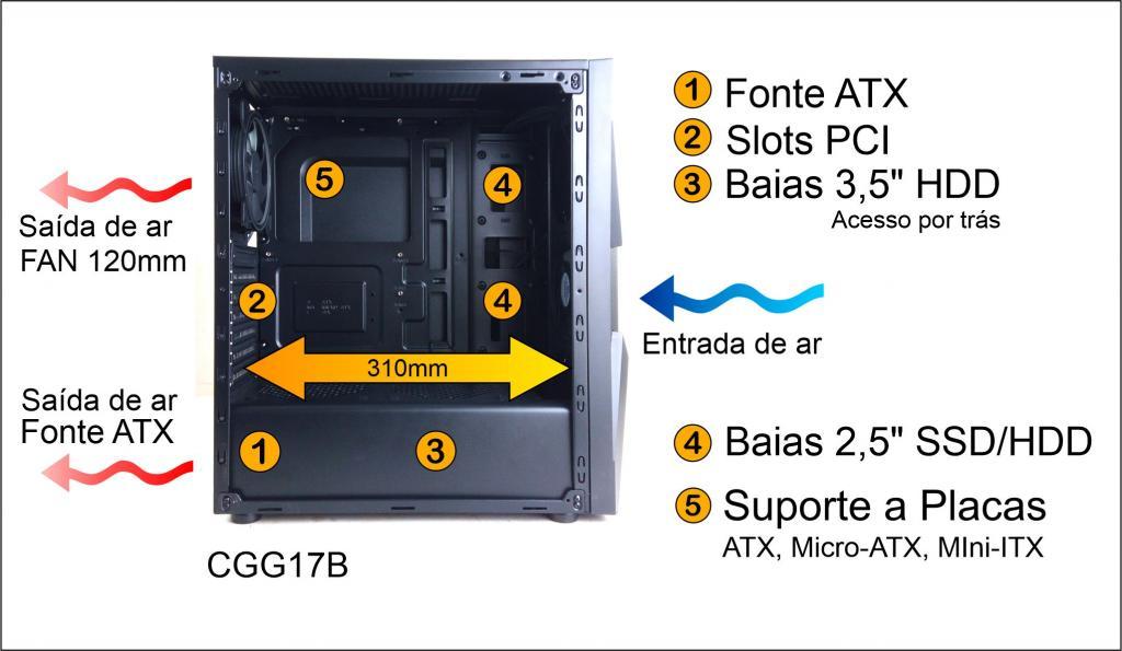 GABINETE GAMER S/FONTE USB 3.0 RGB CGG17B PIXXO  - Express Informática