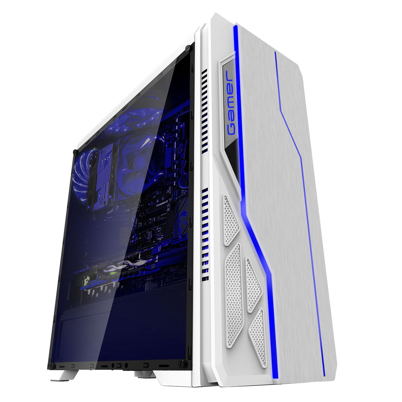 GABINETE GAMER USB 3.0 LED RGB LATERAL ACRÍLICO S/FONTE BRANCO BG-009 BLUECASE
