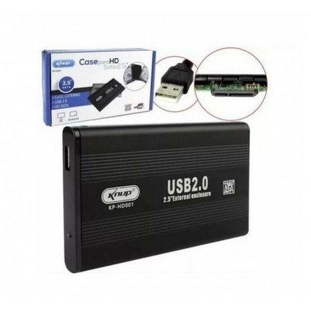 "GAVETA 2,5"" HD NOTEBOOK USB 2.0 PRETA KP-HD001 KNUP  - Express Informática"
