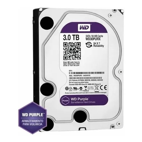 HD 3TB SATA 3 6GB/s 64MB CACHE PURPLE WD30PURX WESTERN DIGITAL