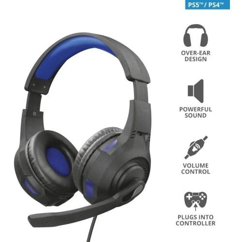 HEADSET GAMER P2/PS4/PS5 RAVU GTX-307B AZUL/PRETO TRUST