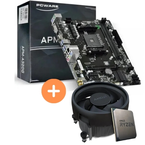 KIT - AMD RYZEN 3 2200G 3.5GHZ 6MB C/COOLER + PLACA MÃE AM4 DDR4 APM-A320G PCWARE
