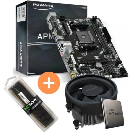 KIT - AMD RYZEN 3 2200G 3.5GHZ 6MB + PLACA MÃE AM4 APM-A320G PCWARE + MEMÓRIA 8GB/DDR4