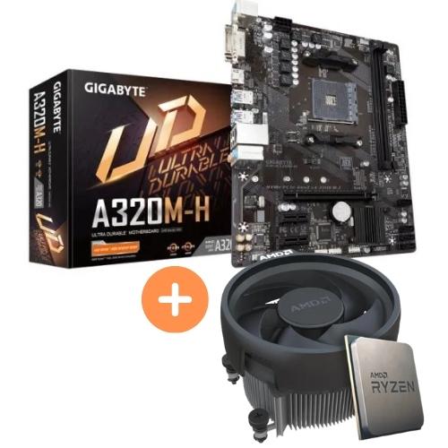 KIT - AMD RYZEN 5 2400G 3.6GHZ 6MB C/COOLER + PLACA MÃE AM4 DDR4 A320M-H GIGABYTE