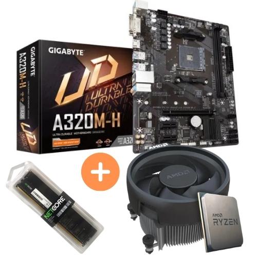 KIT - AMD RYZEN 5 2400G 3.6GHZ 6MB +PLACA MÃE AM4 DDR4 A320M-H GIGABYTE +MEMÓRIA 8GB/DDR4