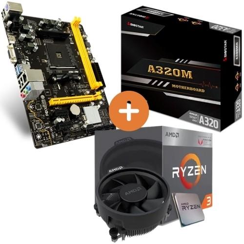 KIT - AMD RYZEN 5 3400G 3.7GHZ 6MB C/COOLER + PLACA MÃE AM4 DDR4 A320MH BIOSTAR