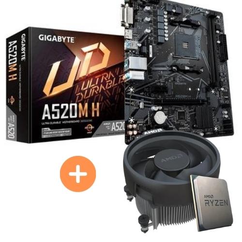 KIT - AMD RYZEN 5 5600G 3.9GHZ 19MB CACHE BOX +PLACA MÃE AM4 DDR4 A520M H GIGABYTE
