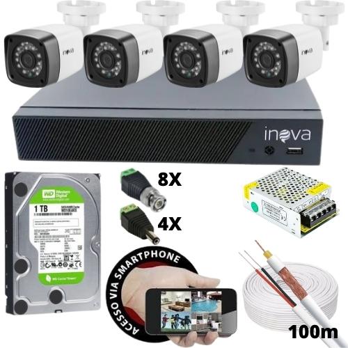 KIT - DVR 4 CANAIS INOVA +4 CAMERAS BULLET +HD 1TB WD +FONTE 12V 5A +CONECTORES +CABO COAXIAL
