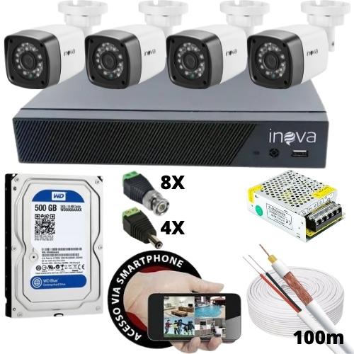 KIT - DVR 4 CANAIS INOVA +4 CAMERAS BULLET +HD 500GB WD +FONTE 12V 5A +CONECTORES +CABO COAXIAL