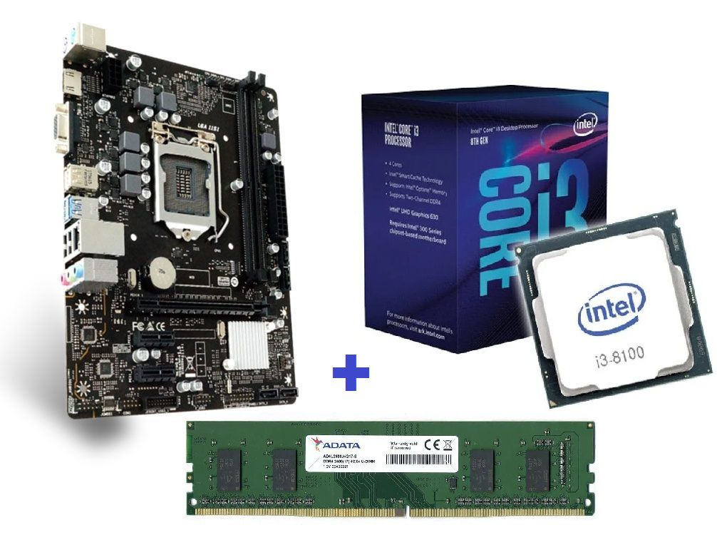 KIT- PLACA 1151/DDR4 PCWARE + INTEL CORE I3-8100 3,6GHZ + MEMÓRIA 4GB/DDR4  - Express Informática