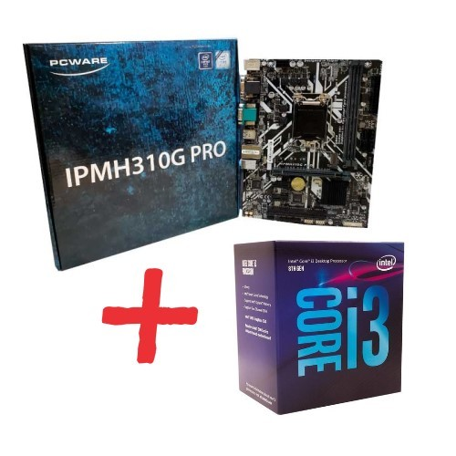 KIT- PLACA 1151/DDR4 PCWARE + INTEL CORE I3-8100 3,6GHZ 6MB 8ª GER BOX