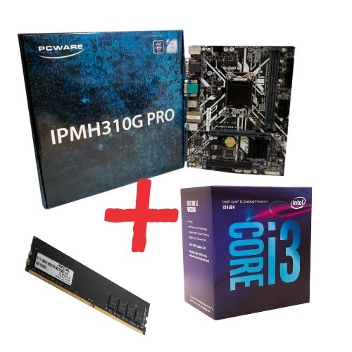 KIT- PLACA 1151/DDR4 PCWARE + INTEL CORE I3-8100 3,6GHZ + MEMÓRIA 4GB/DDR4 AFOX