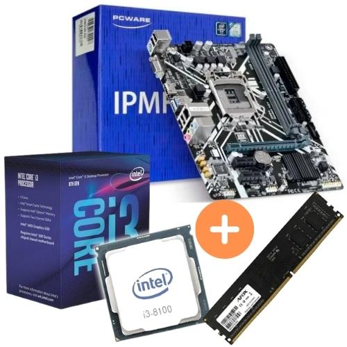 KIT- PLACA 1151/DDR4 PCWARE + INTEL CORE I3-8100 3,6GHZ + MEMÓRIA 4GB/DDR4 AFOX