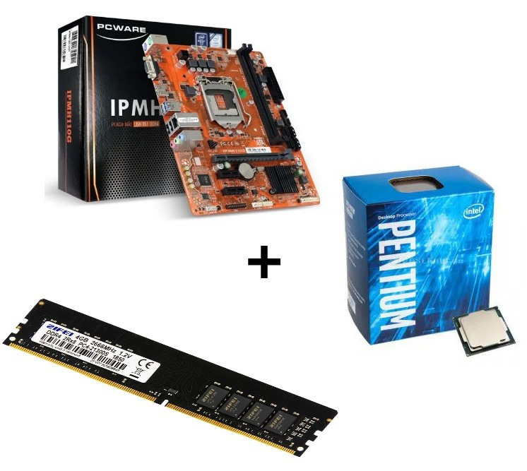 KIT - PLACA MÃE 1151/DDR3 PCWARE + PENTIUM DC 3.5GHZ BOX + MEMÓRIA 4GB/DDR3