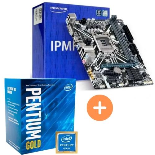 KIT - PLACA MÃE 1151 IPMH310G PCWARE + INTEL PENTIUM GOLD G5420 3.8GHZ 8ª GER BOX