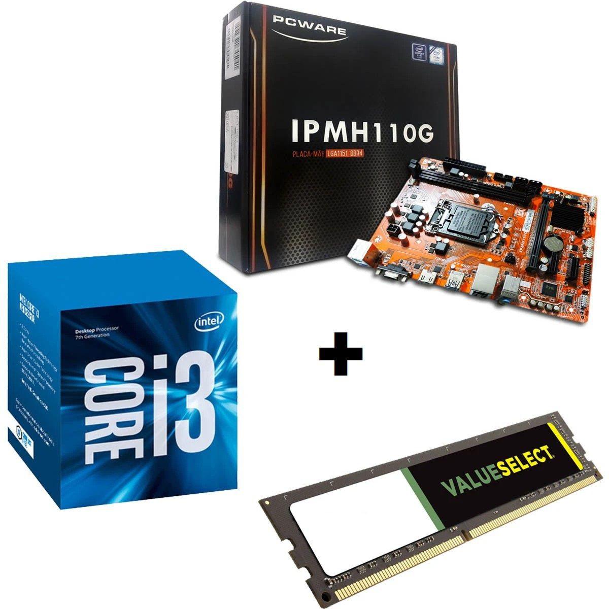 KIT - PLACA MÃE 1151/DDR4 PCWARE + INTEL CORE I3 3.9GHZ + MEMORIA 4GB/DDR4 AFOX