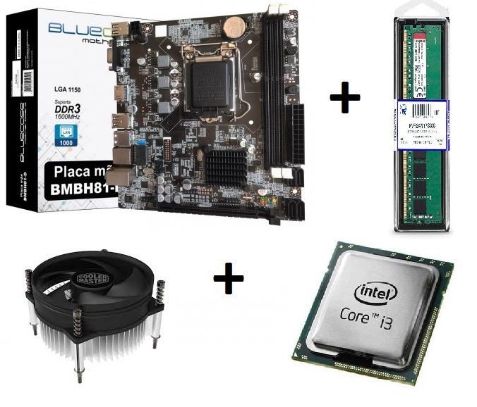 KIT - PM 1150 BLUECASE + INTEL CORE I3 3.6GHZ + COOLER + MEMORIA 4GB DDR3  - Express Informática