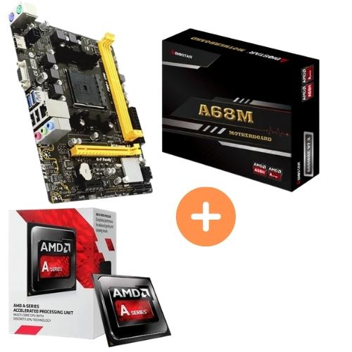 KIT - PROCESSADOR AMD DUAL CORE 3.5GHZ BOX + PLACA MÃE FM2 A68M DDR3 VGA/HDMI BIOSTAR