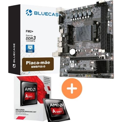 KIT - PROCESSADOR AMD DUAL CORE 3.5GHZ BOX + PLACA MÃE FM2 DDR3 VGA/HDMI BMBF68-D BLUECASE