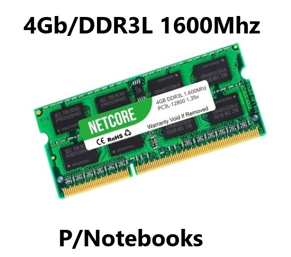 MEMORIA 4GB/DDR3L 1600MHZ NOTEBOOK CL11 NETCORE