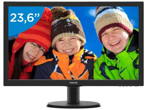 "MONITOR 23,6"" 243V5Q FULL HD VGA/DVI/HDMI PHILIPS  - Express Informática"