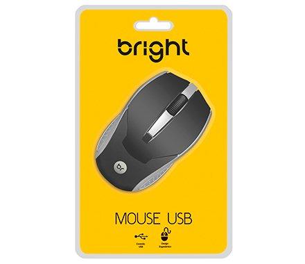 MOUSE USB PRETO/PRATA 0028 BRIGHT  - Express Informática