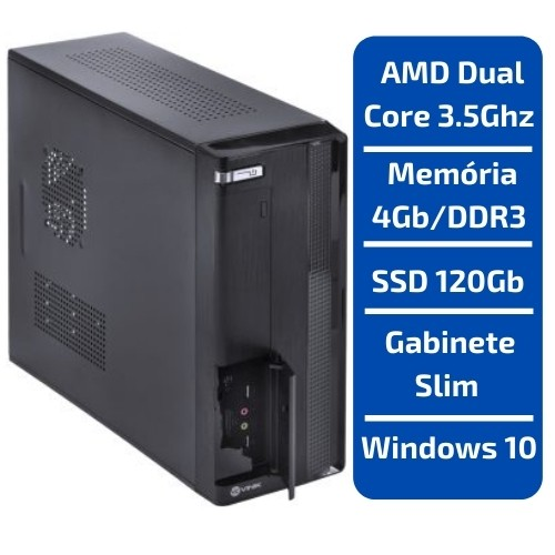 PDV-SLIM AMD A6-7480 3.5GHZ /MEMÓRIA 4GB/DDR3 /SSD 120GB /WINDOWS 10
