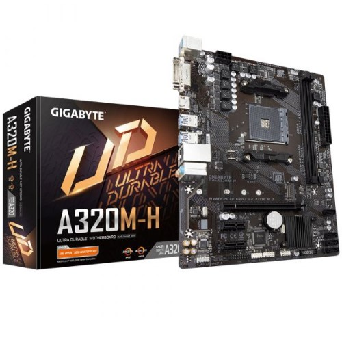 PLACA MÃE AM4 DDR4 M.2 NVME DVI/HDMI REDE LAN GIGABIT A320M-H GIGABYTE