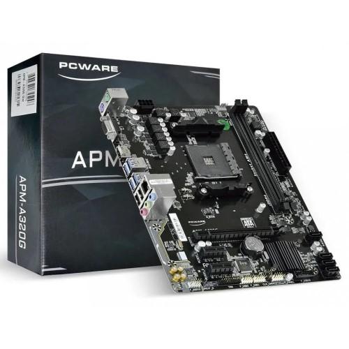 PLACA MÃE AM4 DDR4 VGA/HDMI REDE LAN GIGABIT APM-A320G PCWARE