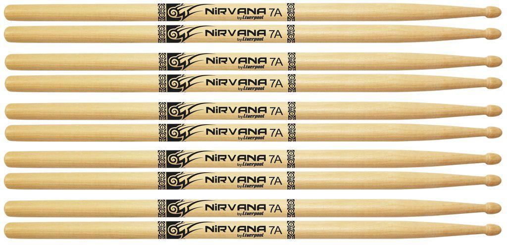 5 Pares Baqueta 7a Nirvana Eco Bio Liverpool Madeira Ni 7am