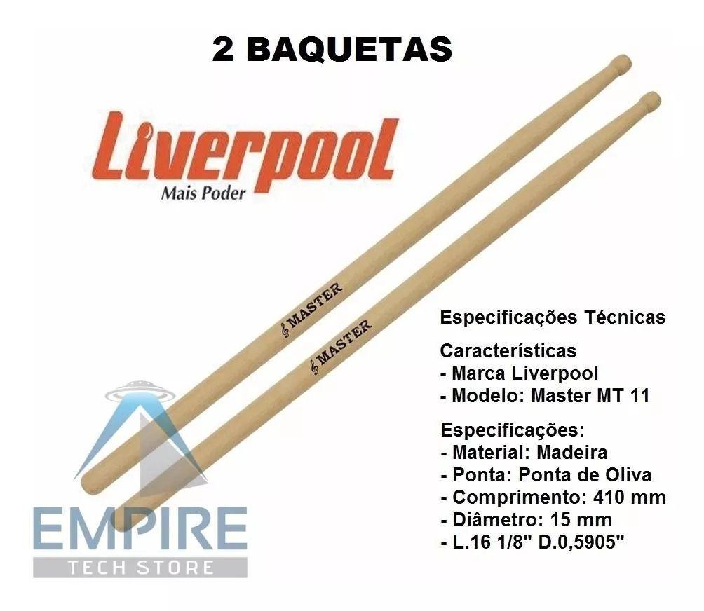 Baqueta Madeira Master Liverpool 10 Pares Mt-11 Mt 11