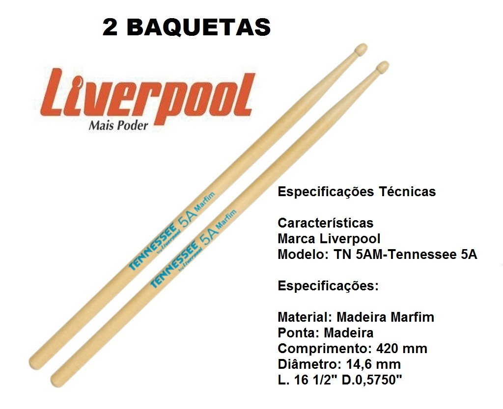 Baqueta Tennessee Marfim 5A Liverpool TN-5AM