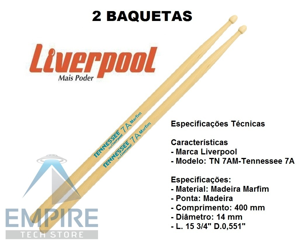 Baqueta Tennessee Marfim 7A Liverpool TN-7AM