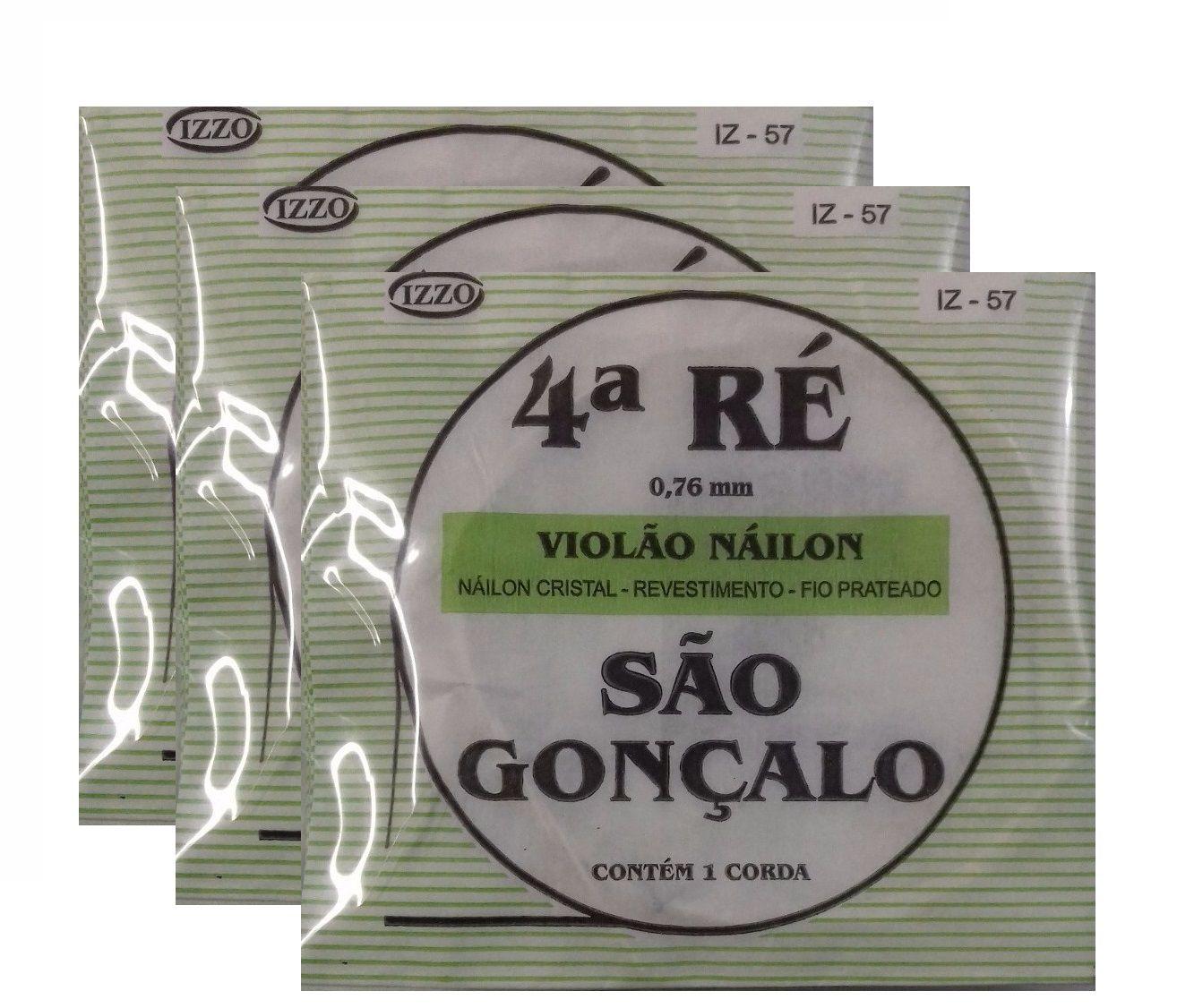 Kit 3 Cordas Nylon Cristal 4 Quarta Ré São Gonçalo 57