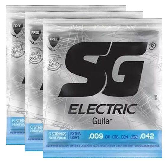 Kit 3 Encordoamento Guitarra 009 - Sg 5145 + Palheta