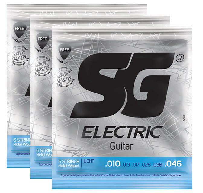 Kit 3 Encordoamento Guitarra 010 - Sg 5198 Cordas Palheta