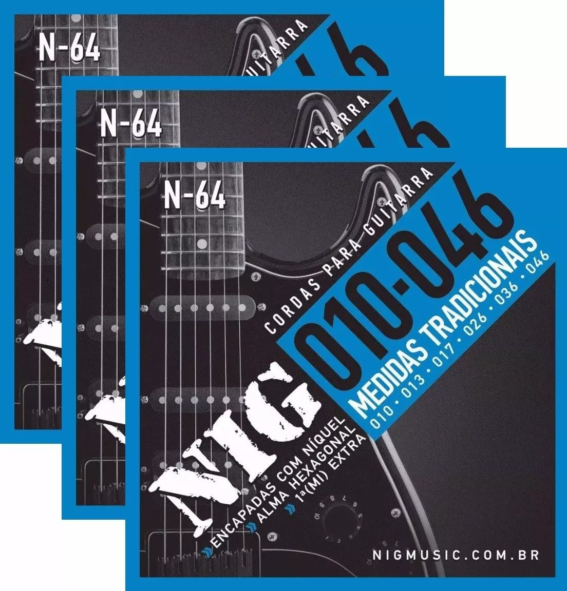 Kit 3 Jogos Encordoamento Nig Guitarra 010 046 N64 N-64