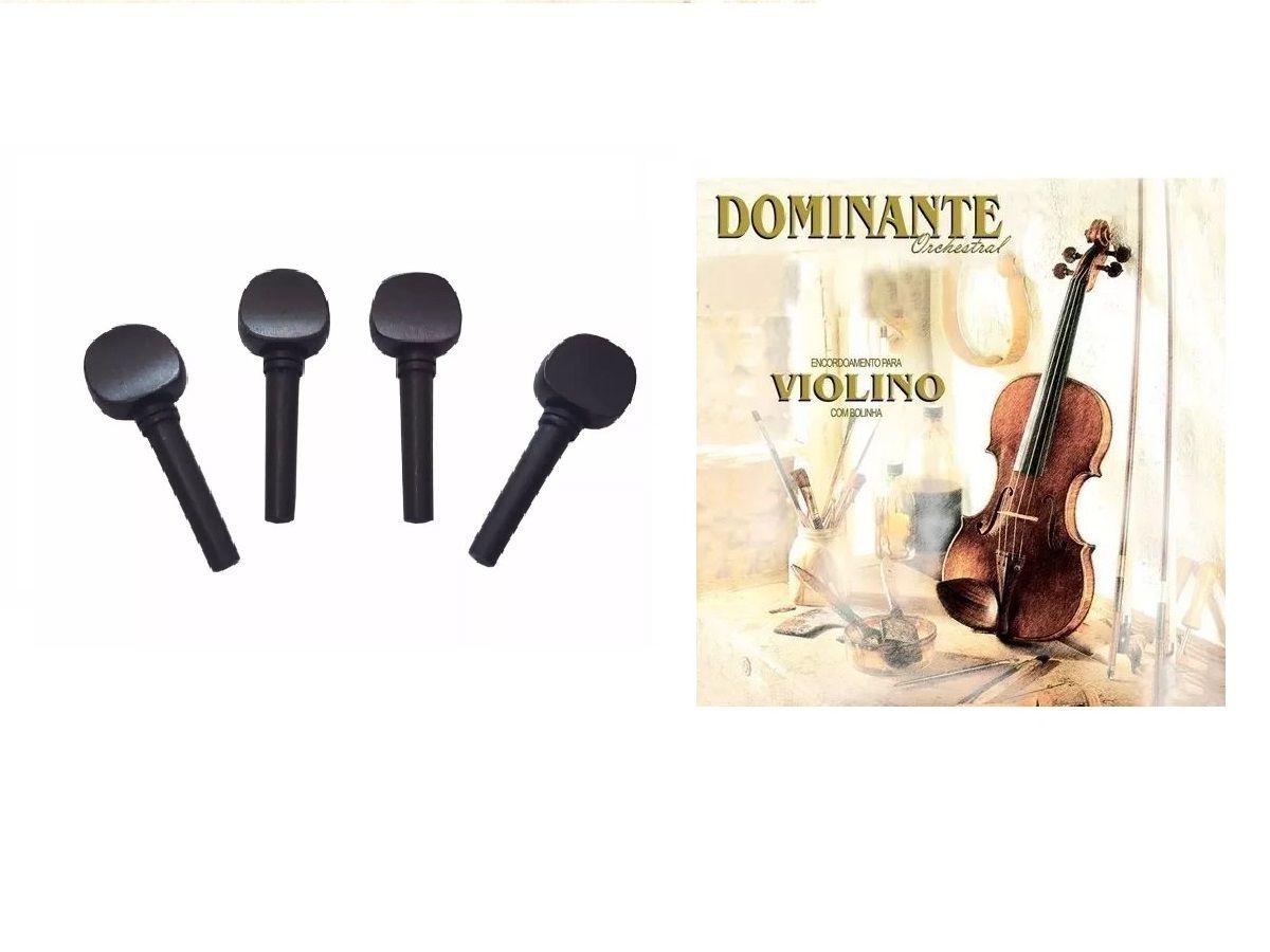 Kit 4 Cravelhas Violino 4/4 + Cordas Dominante Orhestral 89