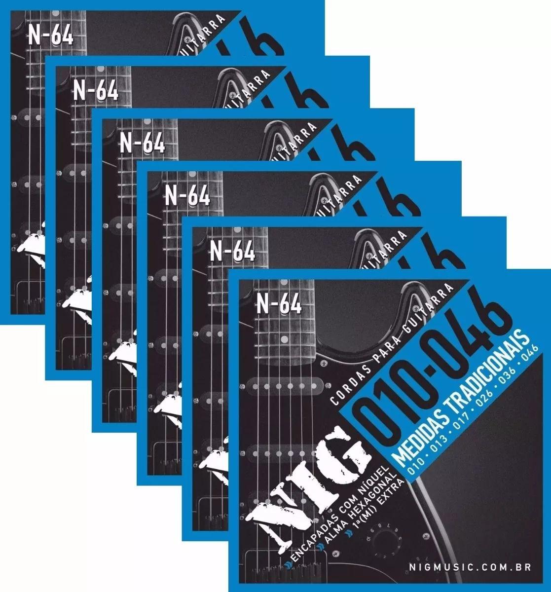Kit 6 Jogos Encordoamento Nig Guitarra 010 046 N64 N-64